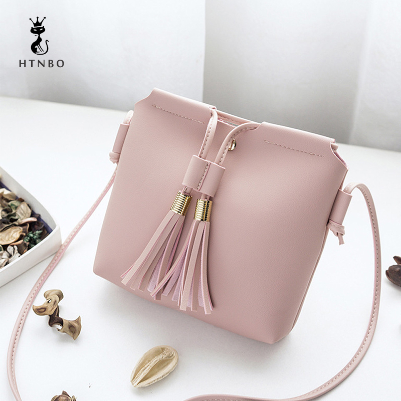 HTNBO Women's Handbags Bag Leather Female Fashion Tassel bolsa feminina Soft Clutch Solid Top-handle Bags Tote Ladies 2018 Gifts