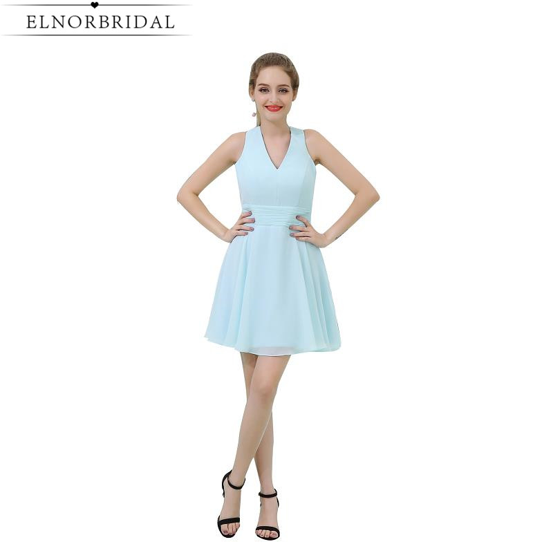 Sky Blue Short   Bridesmaid     Dresses   Cheap 2019 Sexy V Neck Robe Demoiselle D'honneur A Line Chiffon Maid Of Honor   Dress