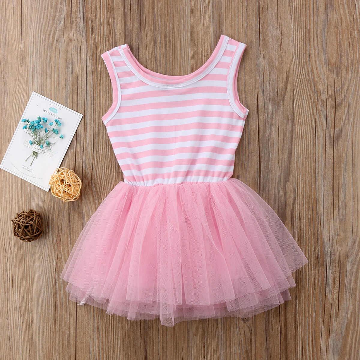Vestido de verano sin mangas a rayas de malla rosa de tul para fiesta de boda tutú de verano para niña bonita 2018