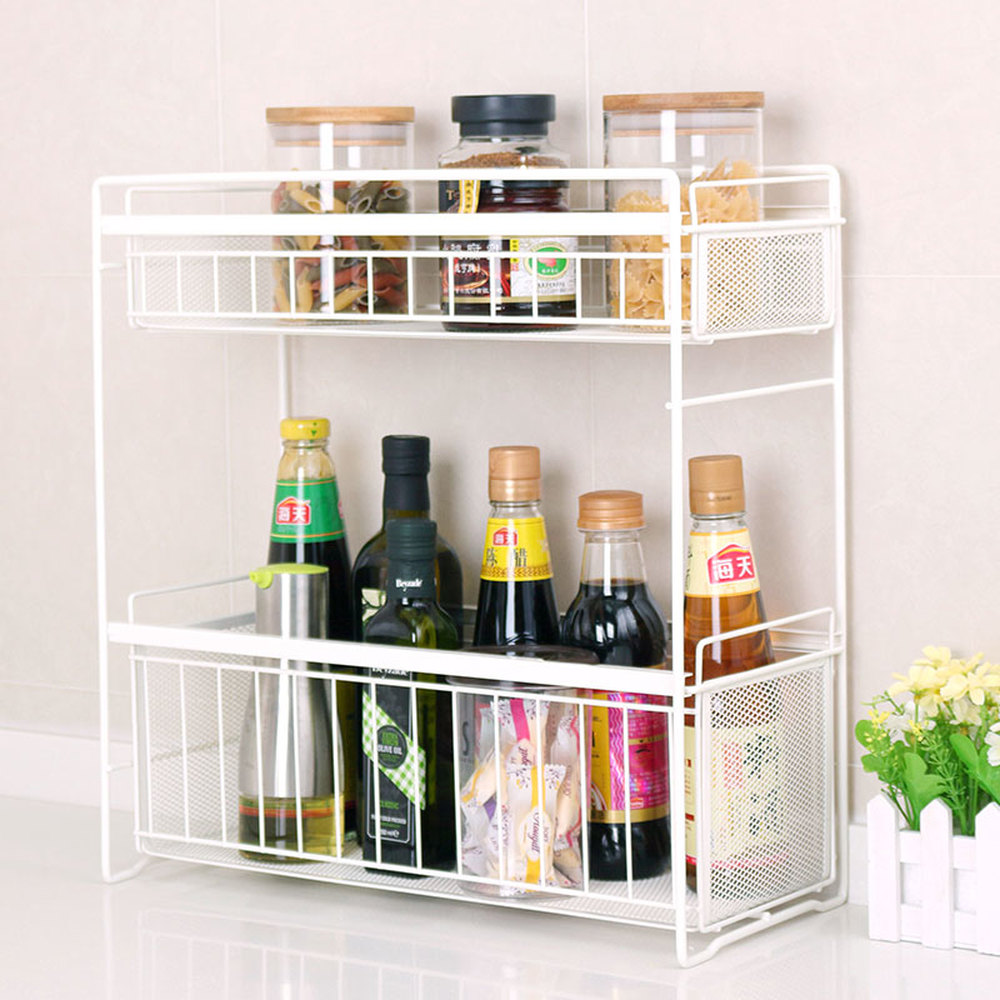 Kitchen shelf wrought carbon steel spice rack double layer drawer storage rack Placing type seasoning shelf wx8081904 kitchen shelf rack wall shelf with 2 cups 40cm storage rack sauce bottle spice tool holder for kitchen seasoning sooktops shelf