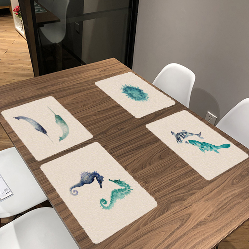 Marine Life Pattern Napkin 42*32cm Seahorse Sea Turtle Print Home Kitchen Table Restaurant Wedding Dinner Fashion Decor Placemat