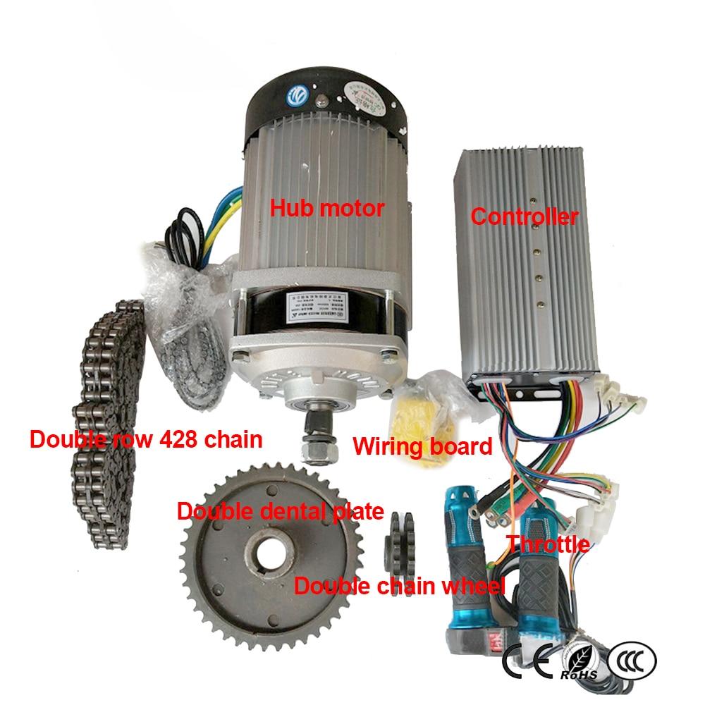 48V60V 1000W Hub Motor Controller Double Row 428 Chain Double Dental Plate Double Chain Wheel Wiring Board Throttle Modified