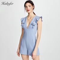Halinfer 2018 New summer women playsuits sexy bodycon v neck ruffle playsuits celebrity party blue playsuit vestidos wholesale
