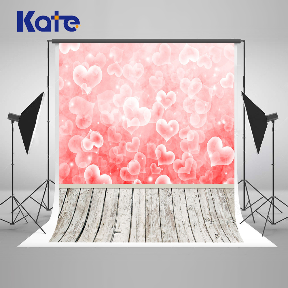 Kate Pink Heart Valentine'S Day Photography Backdrops Wood Floor Backgrounds For Photo Studio Children Photocall Backdrop