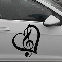 58cm X 38 67cm 2 X Treble Clef Heart One For Each Side Vinyl Decal Sticker