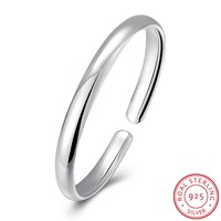 Simple Style Bangle Fashion Jewelry Wholesale Men Women Gift Trendy 925 Sterling Silver Solid Round Bracelets