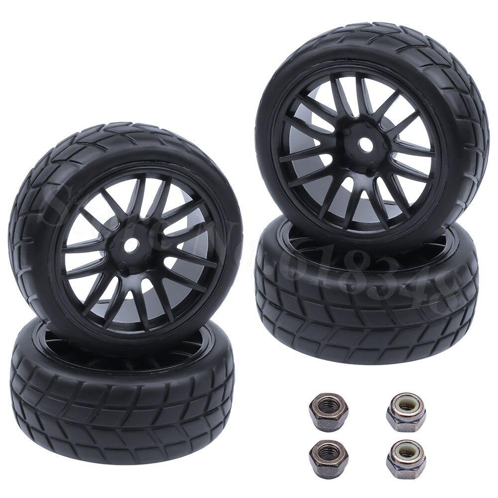 4Pcs Caoutchouc Pneu Pneus et roues pour 1//8 électrique et NITRO véhicule B