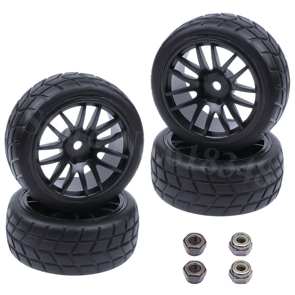 4 piezas de llantas de caucho y plástico para llantas de vehículos RC para 1/10 en modelos de carreras en carretera