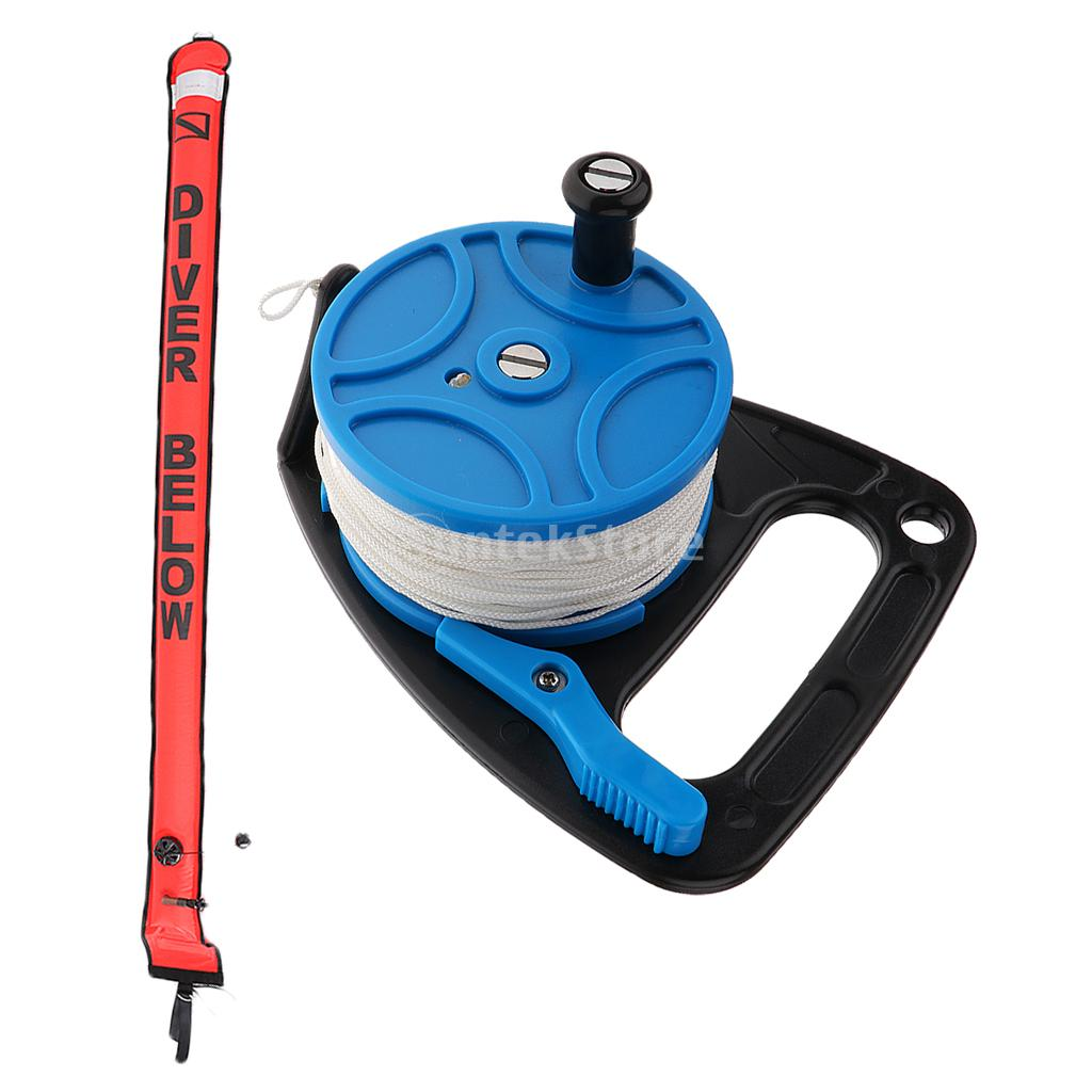 Diving Scuba Spool Reel 83m Line with Handle & Thumb Controller + 180cm Scuba Divers SMB Surface Marker Buoy цена