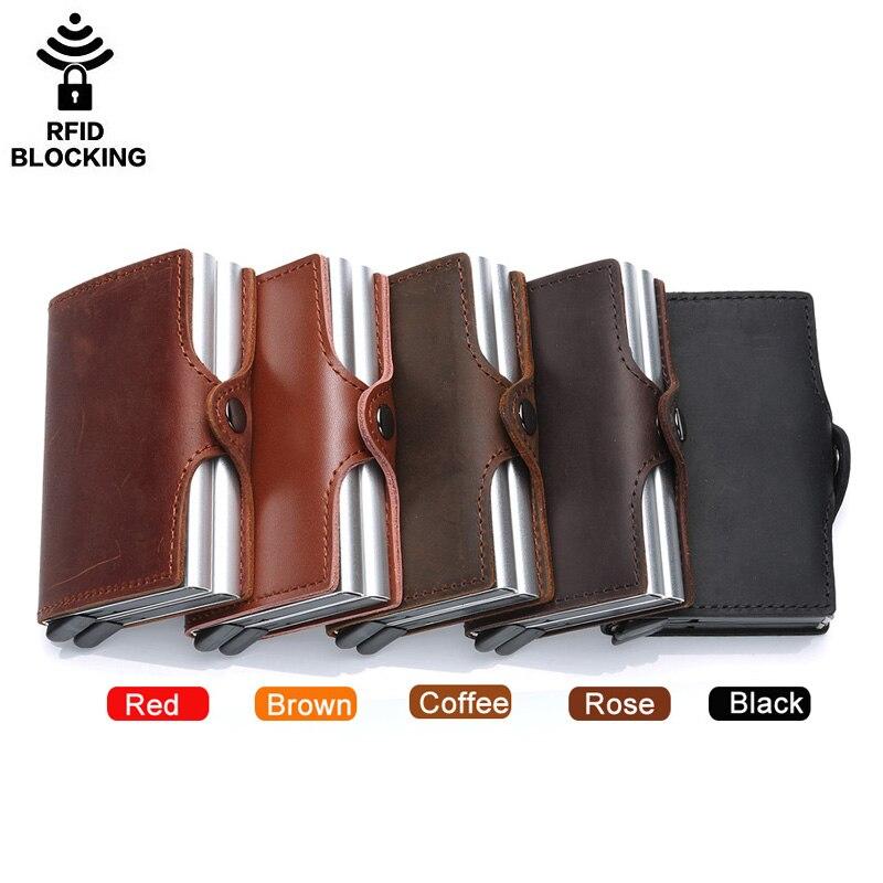 Porte-carte de crédit en métal de haute qualité automatique pop up portefeuille en aluminium antivol Rfid bloquant le porte-monnaie en cuir porte-monnaie - 6
