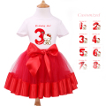 Baby Set Girl Clothes Short Sleeve T-Shirt + Red Tutu Dress Kids Cartoon  Party Clothing Baby Girl 1st Birthday