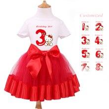 Bébé Ensemble Fille Vêtements À Manches Courtes T-Shirt + Tutu Rouge Robe Enfants Party Cartoon Vêtements Bébé Fille 1er Anniversaire