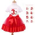 Sistema del bebé ropa de niña de manga corta t-shirt + rojo tutu dress kids party cartoon ropa de bebé de la muchacha primero cumpleaños