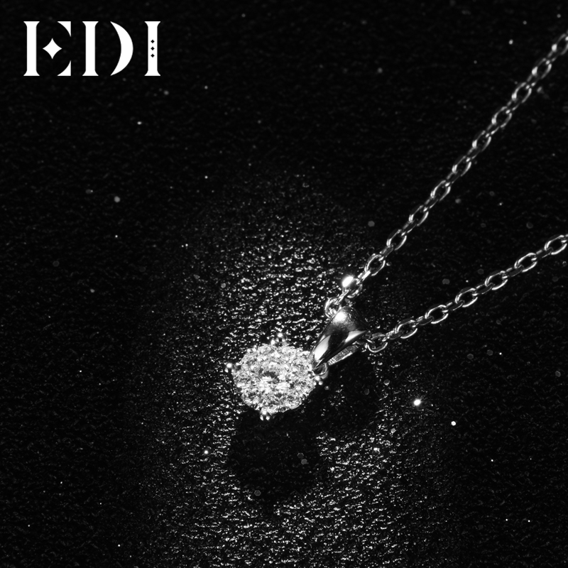 EDI Classic Real Natuurlijke Diamanten Hanger Ketting Voor Vrouwen 18K Solid White Gold Diamond Met 16' Ketting Ketting Wedding sieraden - 3