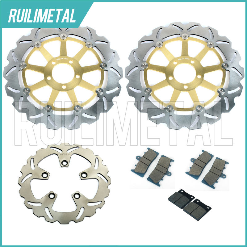 Front Rear Brake Discs Rotors Pads Set for KAWASAKI ZX9R ZX 9R ZX-9R ZX900 ZX-900 96 97 1996 1997 ZX 900 180 16 9 fast fold front and rear projection screen back