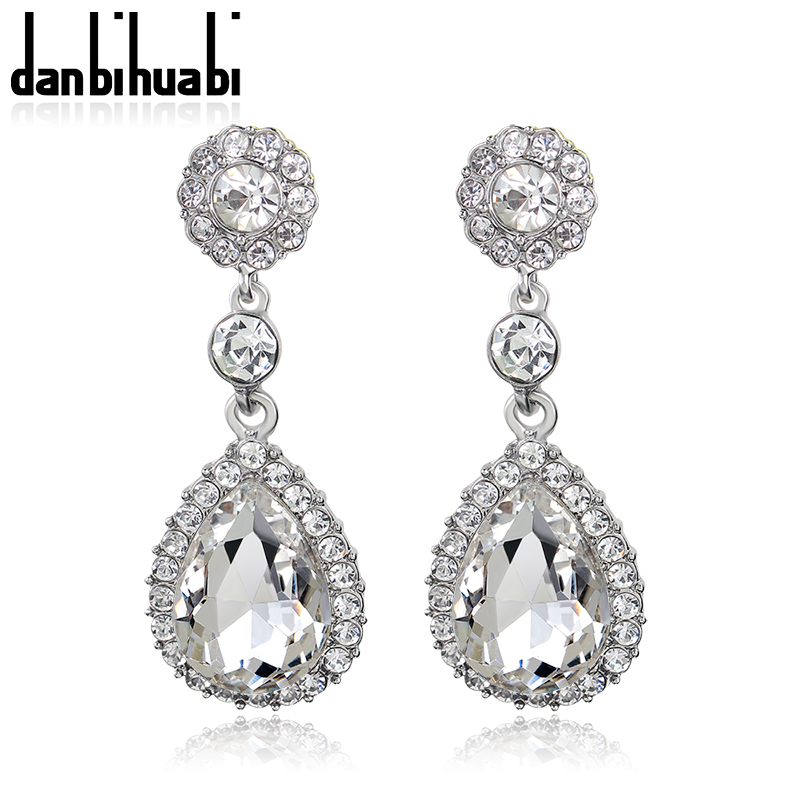 Wedding Indian Jewelry Fashion High Quality Rhinestone Classic Style Bridal Silver Drop Crystal Earrings for Women Gift 4 Colors
