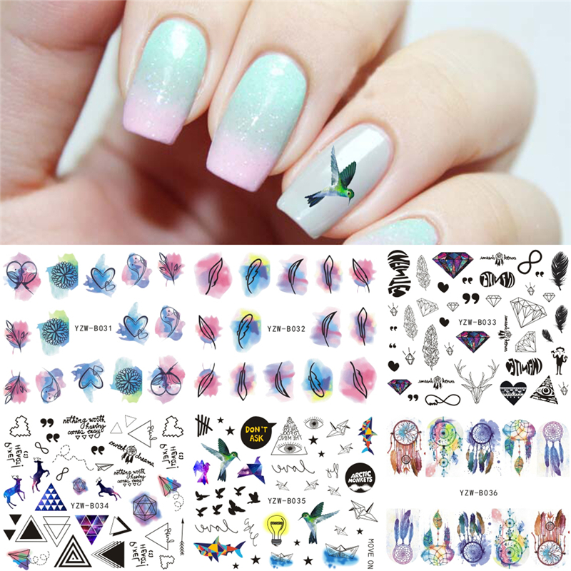 6 Sheets/Lot Feather Bird Diamond Water Decal Nail Art Transfer Sticker Manicure Nails Design 2017 Xmas elk Nail Stickers 1pcs fashion 1 sheets 3d design cute diy cartoon colorful diamonds tip nail art nail sticker nails decal manicure nail tools