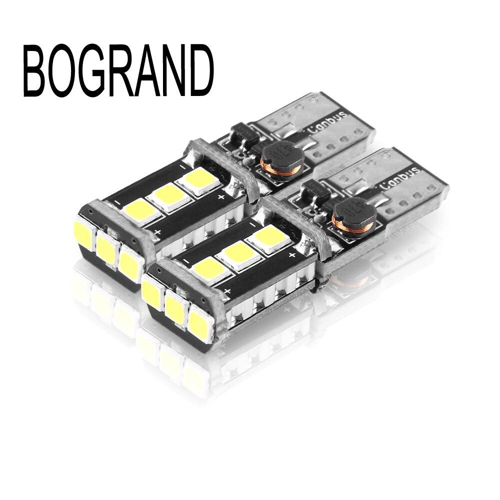 BOGRAND 2 PCS Voiture-Styling Auto 12-24 V 9SMD 3030 Ampoule Aucune Erreur Parking 194 W5W 168 Canbus T10 LED