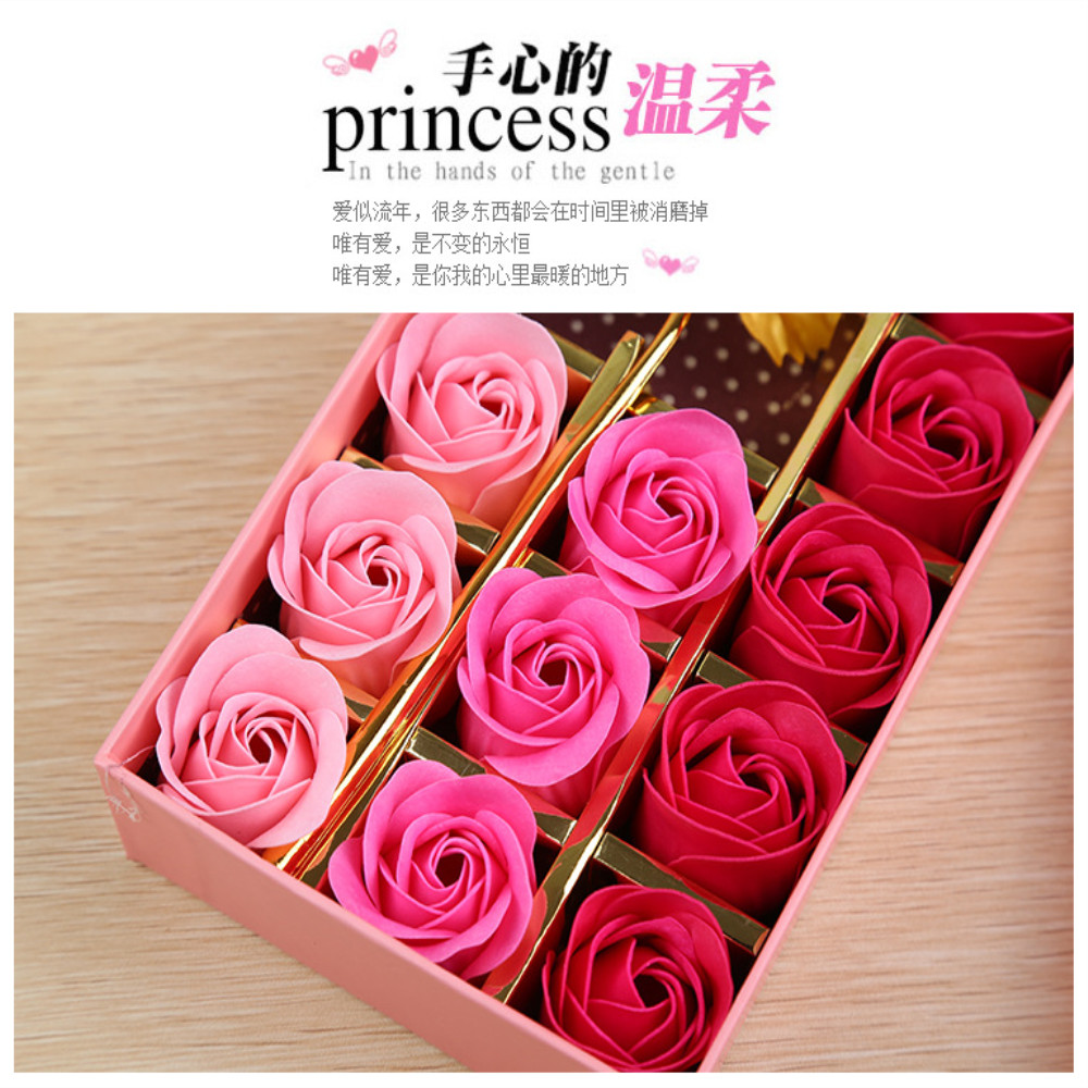 12 PCS Box Soap Flower And Gold Leaf Roses Birthday Gift Girlfriend Practical Creative Romantic In From Beauty Health On