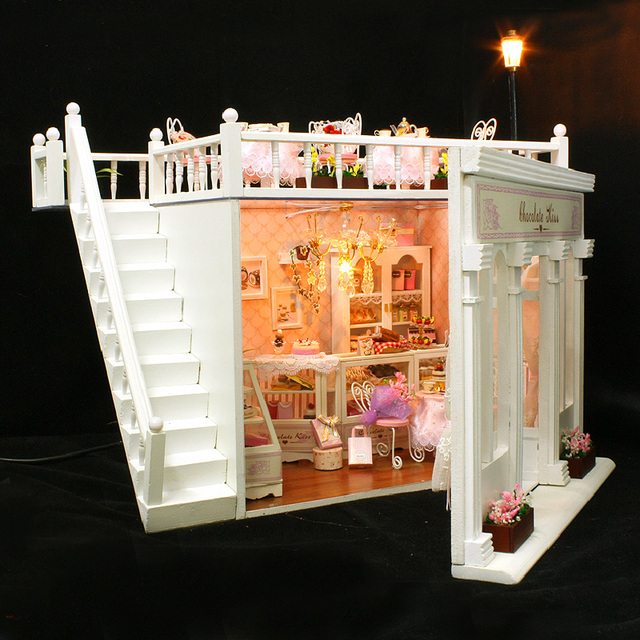 Doll house furniture miniatura diy doll houses miniature dollhouse wooden handmade toys for children birthday gift  X006