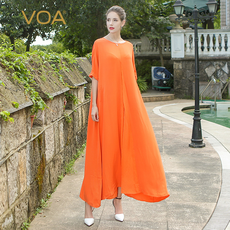 31b3125f832f2 VOA 2017 Summer Orange Loose Casual Comfort Solid Long Robe Plus ...