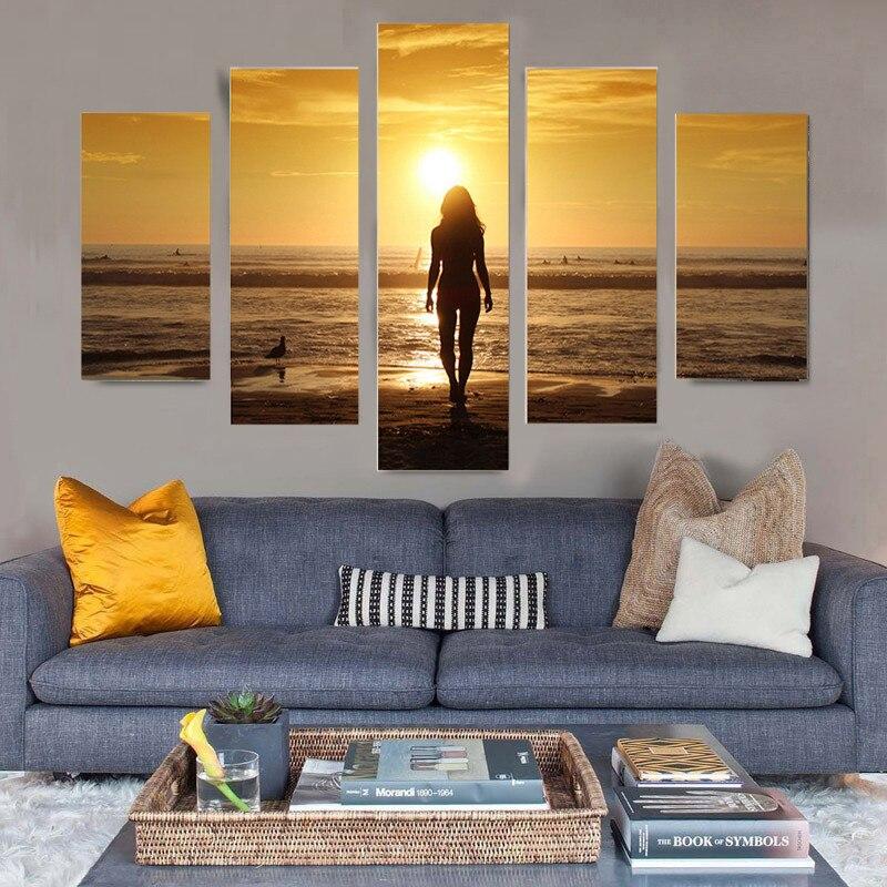 5 Unids Imagen Paisaje Marino Beach Ladies Ladies Group Impresión de - Decoración del hogar