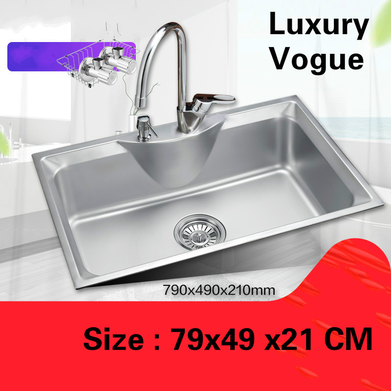 Free shipping Luxurious kitchen single trough sink durable standard food grade stainless steel whole drawing hot sell 790×490 MM