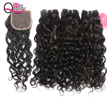 May Queen Brazilian Water Wave Bundles With Closure Human Hair 3 remy Weave Bundle