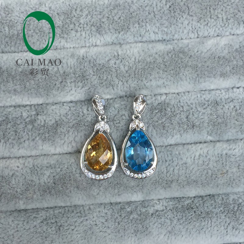 Caimao Jewelry Natural Pear Shape Blue Topaz or Yellow Citrine 925 Sterling Silver Pendant for Women