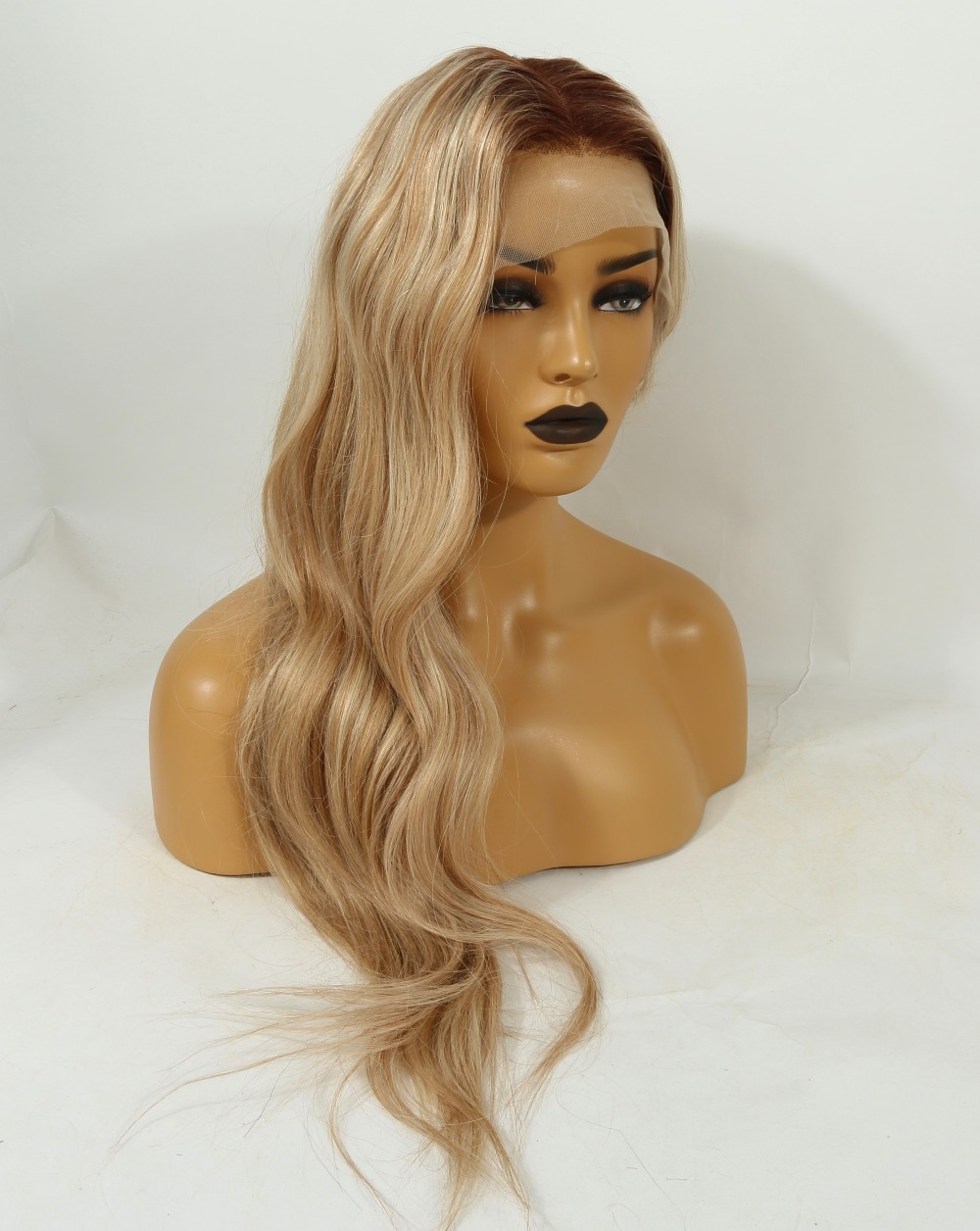 Image 5 - Fabwigs 150% Density T4/27/613 Blonde Full Lace Human Hair Wigs Brazilian Remy Ombre Highlights Lemi Color Lace Wigs Deep Part-in Human Hair Lace Wigs from Hair Extensions & Wigs