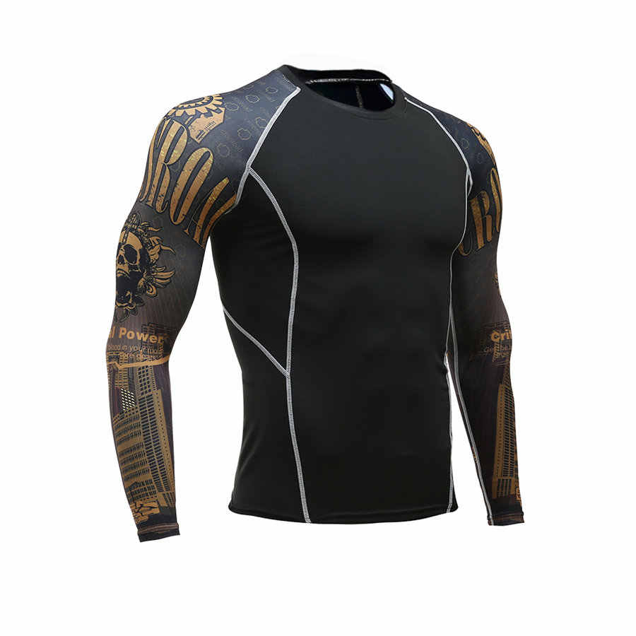 3D быстросохнущая Рашгард спортивная рубашка для бодибилдинга с длинным рукавом компрессионные рубашки Slim Fit топы футболки спортзал Бег тренировки рубашка