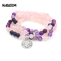 NADEEM 108 STKS 8 MM Natuurlijke Roze Kwarts Kralen Lotus Charm Hanger Yoga Armband Mala Bead Armband Ketting Voor Mannen vrouwen