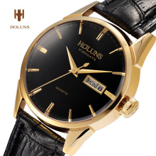Luxury HOLUNS watch men sapphire glass leather strap waterproof date stainless steel quartz watch relogio masculine