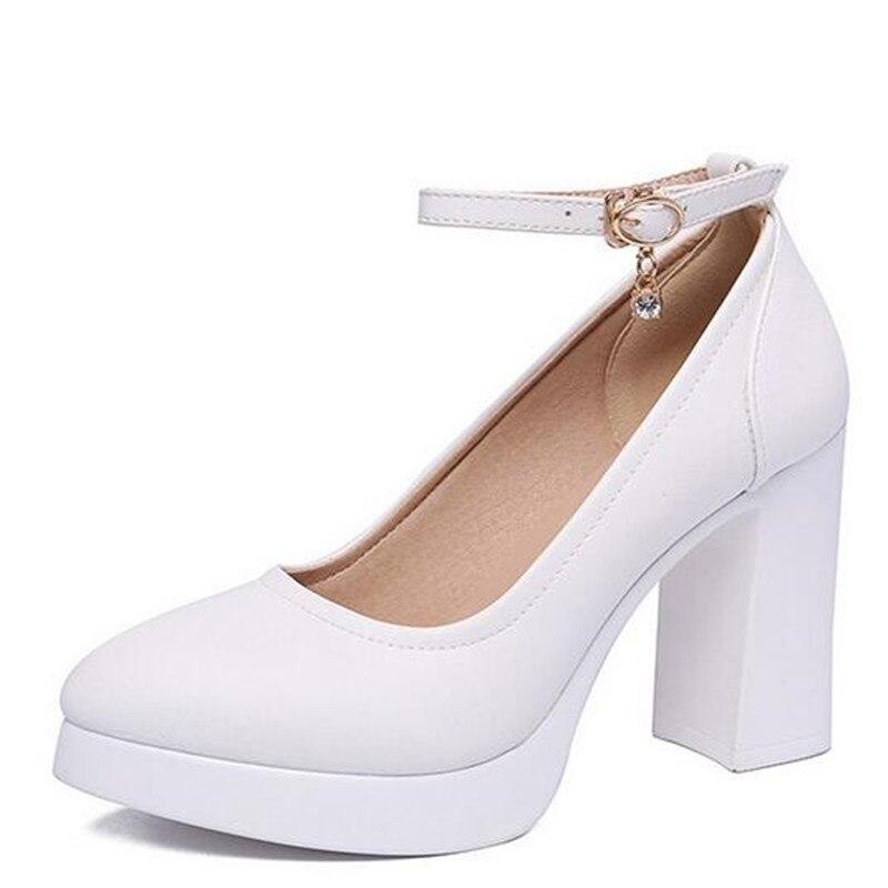 Tacón Nuevo High 9cm Cuero Cm 43 Alto Gran white 9 Mujer 6cm Alto Tamaño Heel 6 2019 Genuino Elegante 6cm Zapatos Caliente De balck Y 33 Black Moda x5g0f1Onq
