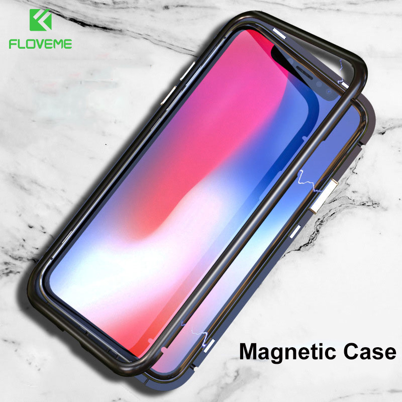 FLOVEME Magnetic Adsorption Metal Case For Apple iPhone X 10 7 8 Case Luxury Tempered Glass Back Cover For iPhone 8 7 Plus Coque