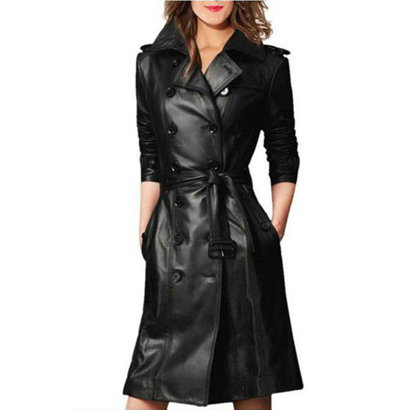 New 2019 Spring Autumn Medium Long   Trench   Coats Female Slim With Belt Black Pu Windbreaker Plus Size 4xl Faux Leather Overcoat
