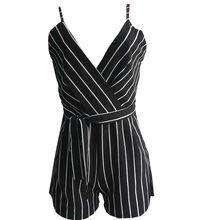 c7acd3d0315a 2018 Summer Casual Playsuit Women Sexy Sleeveless Short Jumpsuit Shorts  stripe Black Deep V Neck Waist Loose Overalls Romper