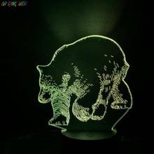 Animal Bear Nightlight for Children's Bedroom Home Decoration Baby Night Lamp Touch Sensor Color Changing 3d Led Night Light cute teddy bear led night lamp 3d illusion hoom decoration bedroom light child kid baby nightlight christmas hat lamp teddy bear