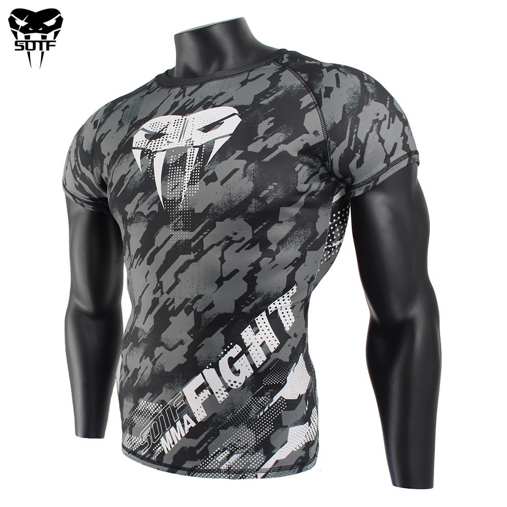 SOTF  MMA Snake Head Camouflage Fitness Breathable Skinny Boxing Jerseys Tiger Muay Thai Jiu Jitsu T Shirt Mma Rashguard Boxing