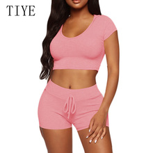 TIYE Plus Size XXL Summer 2 Piece Set Yellow Hooded Jumpsuit Women Ribbed Knitted Bodycon Bodysuit Casual High-elastic Playsuit