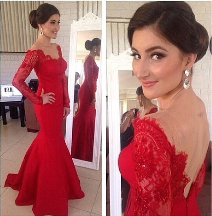 Gorgeous V Neck Satin Long Mermaid Red Evening Gown with Sleeve Sheer Back 2014