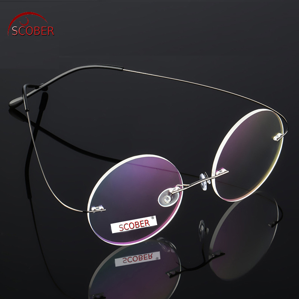 a0660fc513e Best buy Ultra light Rimless Round silver frame Reading Glasses Vintage  Classic TREND Spectacles +1 to+4 Progressive Or Photochromic Lens online  cheap