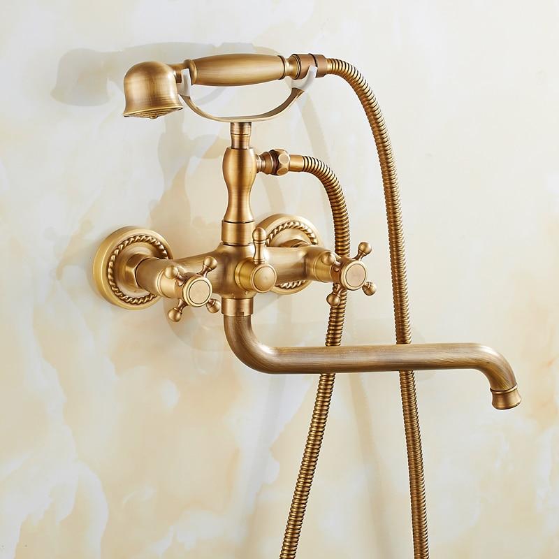 Antique laiton brossé robinets de bain mural salle de bain bassin mélangeur robinet grue avec main douche tête bain et douche robinet - 6