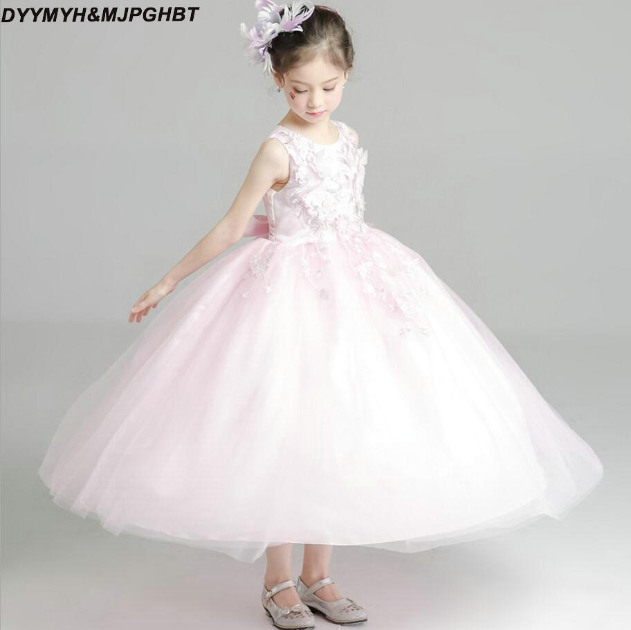 Pink Flower Girl Dresses O Neck Ankle Length Lacetulle Girs Pageant
