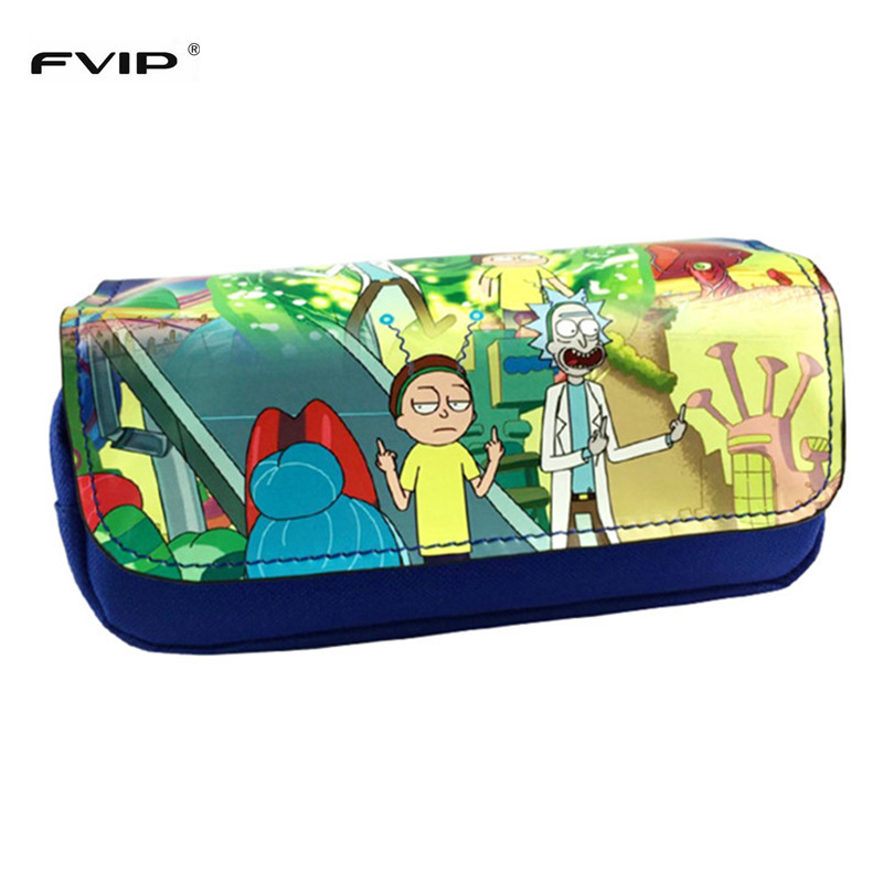 FVIP Anime Cosmetic Cases Cartoon Pencil Case Rick And Morty/ Totoro/ The Joker Make Up Bag