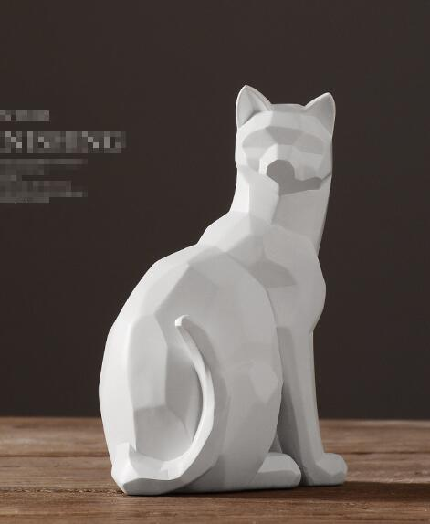 Origami style white and black geometric cat sculpture ornaments abstract animal figurine ornaments modern home decorations in Statues Sculptures from Home Garden
