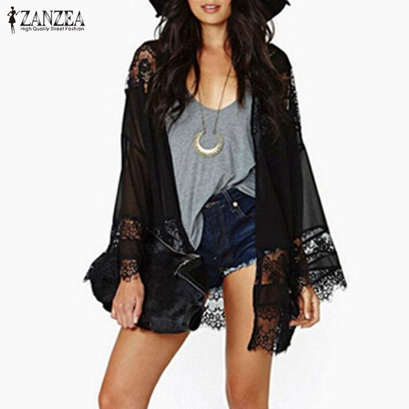 Plus Size ZANZEA Women 2020 Casual Vintage  Kimono Cardigan Lace Crochet Chiffon Loose Blouse Tops Beach Beige Black White