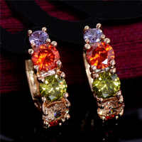 MISANANRYNE Hot Selling Gold Color Jewelry Colorful CZ Hoop Earrings for Women Wedding Bridal Jewelry Earring