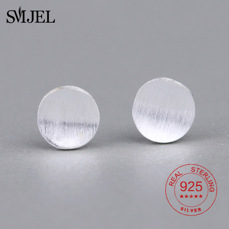 SMJEL 925 Sterling Silver Minimalist Round Circle Earrings Women Wedding Geometric Casual Simple Anti-allergy Ear Jewelry Gift