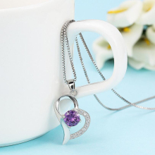 Heart-shaped Pendant Love Heart Crystal Popular Fashion Jewelry Charms Necklace Silver